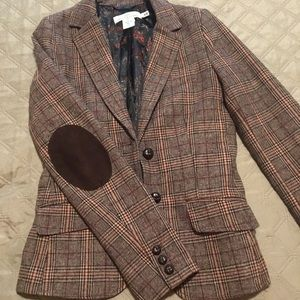 H&M tweed blazer with patched elbows